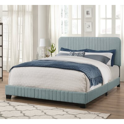 Delp Mid-Century All-in-One Upholstered Panel Bed Size: Queen, Upholstery: Dupree Delft Blue