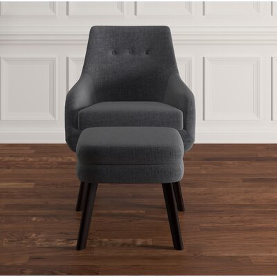 Casson Arm Chair and Ottoman Upholstery: Gray