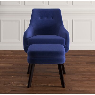 Casson Armchair and Ottoman Upholstery: Twilight Blue