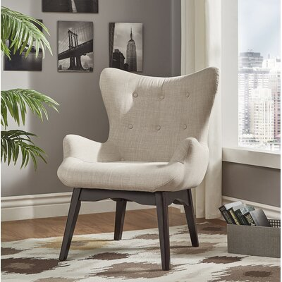 Shuman Wingback Chair Upholstery: Beige