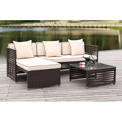 Eulalia 3 Piece Seating Group with Cushions Finish / Upholstery: Brown / Beige