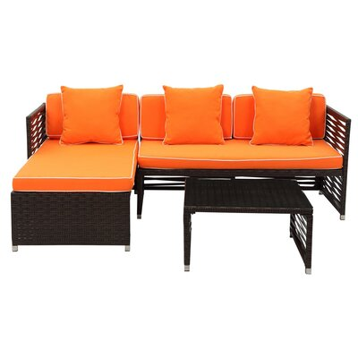 Eulalia 3 Piece Seating Group with Cushions Finish / Upholstery: Brown / Orange