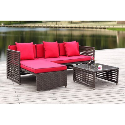 Eulalia 3 Piece Seating Group with Cushions Finish / Upholstery: Brown / Red