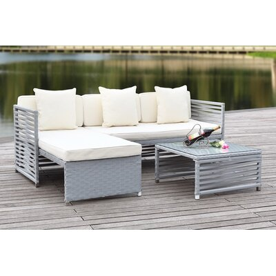 Eulalia 3 Piece Seating Group with Cushions Finish / Upholstery: Grey / Beige