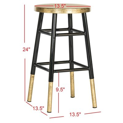Platon 24 Bar Stool Upholstery: Black / Gold