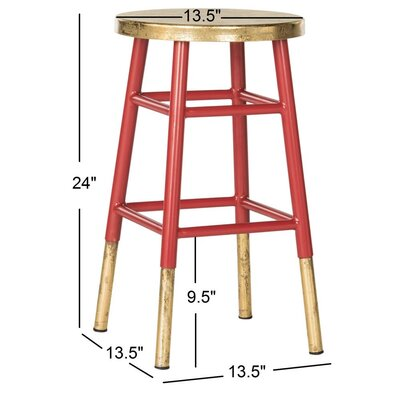 Platon 24 inch Bar Stool Upholstery: Red / Gold