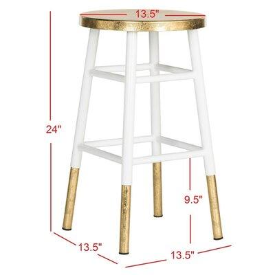 Platon 24 Bar Stool Upholstery: White / Gold