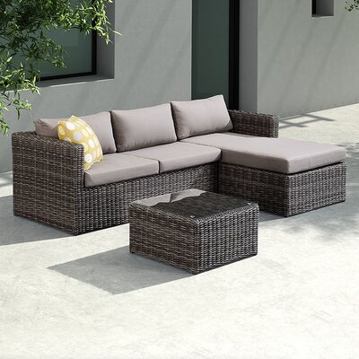 Carbone 3 Piece Sectional Chase Seating Group With Cushion