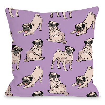 Square Pug Throw Pillow Size: 18 H x 18 W