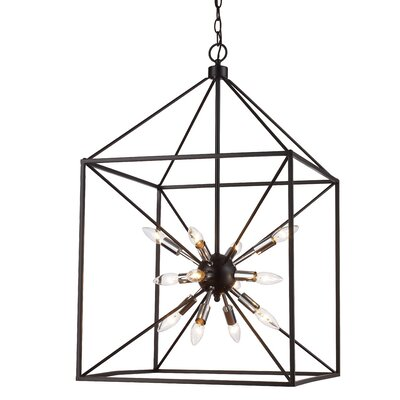 Belisle 12-Light Foyer Pendant Finish: Polished Chrome/Black