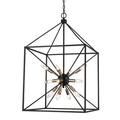 Belisle 12-Light Foyer Pendant Finish: Brushed Nickel/Black