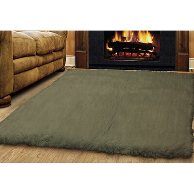 Ransdell Flokati Hand-Woven Green Area Rug Rug Size: Rectangle 4 x 6