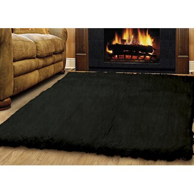 Ransdell Flokati Hand-Woven Black Area Rug Rug Size: Rectangle 5 x 7