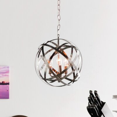 Adcock 3-Light Steel Globe Pendant Finish: Brushed Nickel