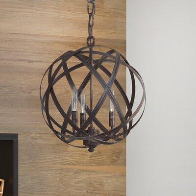 Adcock 3-Light Steel Globe Pendant Finish: Russet