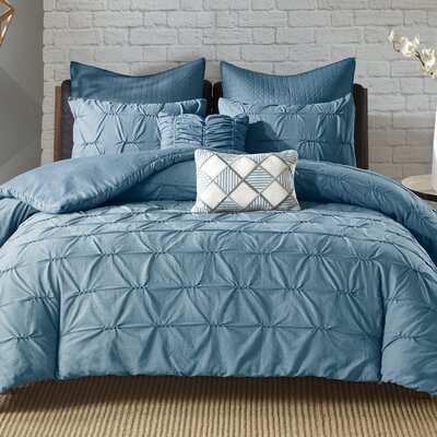 Carini 7 Piece Duvet Set Size: King/California King, Color: Blue