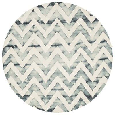 Crux Ivory/Gray Area Rug Rug Size: Round 7