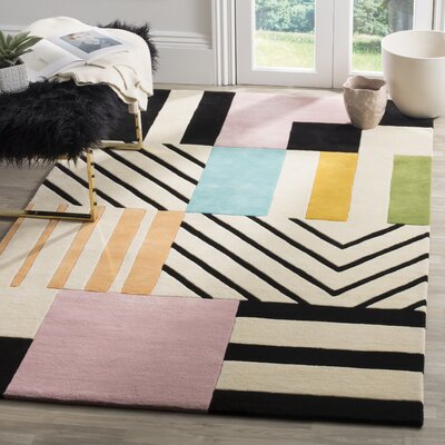 Carlberg Hand-Tufted Wool Ivory/Black Area Rug Rug Size: Rectangle 4 x 6