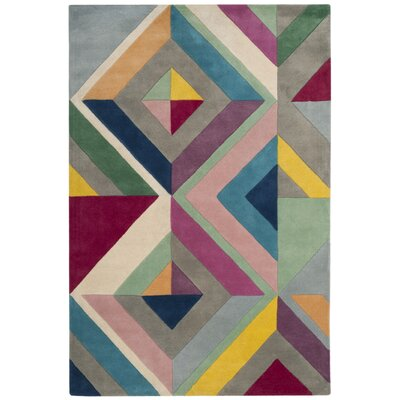Carlberg Hand-Tufted Gray/Yellow Area Rug Rug Size: Rectangle 4 x 6