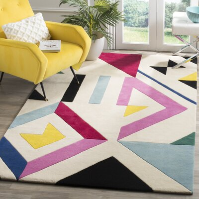 Carlberg Hand-Tufted Ivory/Pink Area Rug Rug Size: Rectangle 5 x 8