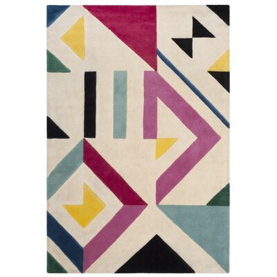 Carlberg Hand-Tufted Ivory/Pink Area Rug Rug Size: 4 x 6