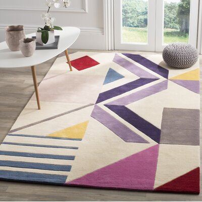 Carlberg Hand-Tufted Wool Ivory/Purple Area Rug Rug Size: Rectangle 5 x 8