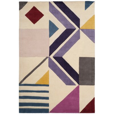 Carlberg Hand-Tufted Ivory/Purple Area Rug Rug Size: 4 x 6