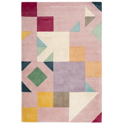 Carlberg Hand-Tufted Pink/Orange Area Rug Rug Size: 4 x 6