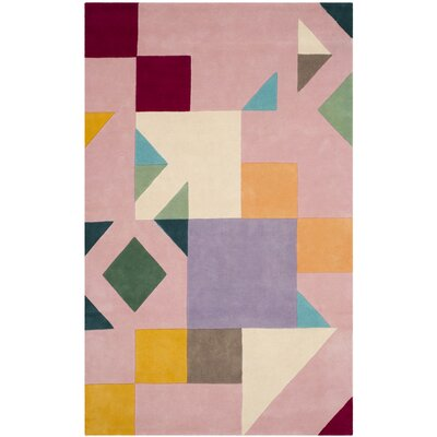 Carlberg Hand-Tufted Pink/Orange Area Rug Rug Size: 5 x 8