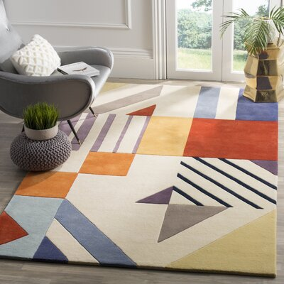 Carlberg Hand-Tufted Wool Ivory/Blue Area Rug Rug Size: Rectangle 5 x 8