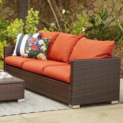 Ellie Outdoor Sofa with Cushions Fabric: Terracotta