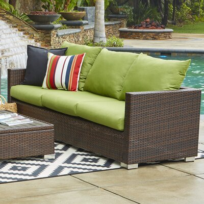 Ellie Outdoor Sofa with Cushions Fabric: Cilantro