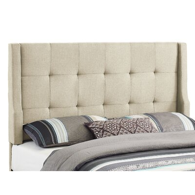 Carmean Upholstered Panel Headboard Size: Full/Queen, Upholstery: Natural
