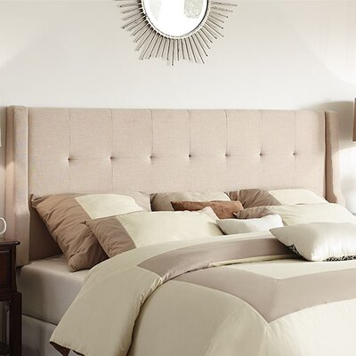 Carmean Upholstered Panel Headboard Size: King, Upholstery: Natural