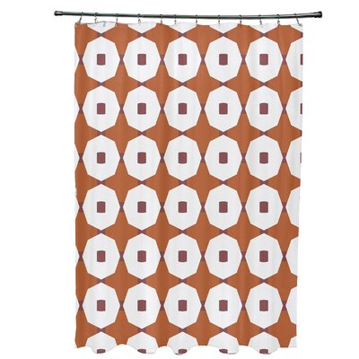 Waller Button Up Geometric Shower Curtain Color: Orange