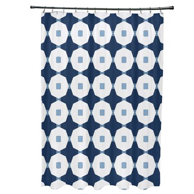 Waller Button Up Geometric Shower Curtain Color: Blue