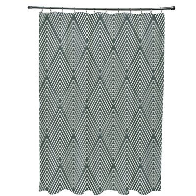 Waller Lifeflor Geometric Shower Curtain Color: Green
