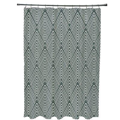 Borel Lifeflor Geometric Shower Curtain Color: Green