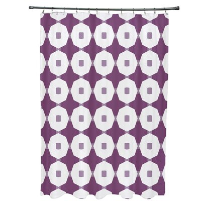 Waller Button Up Geometric Shower Curtain Color: Purple
