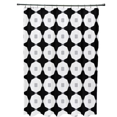 Waller Button Up Geometric Shower Curtain Color: Black
