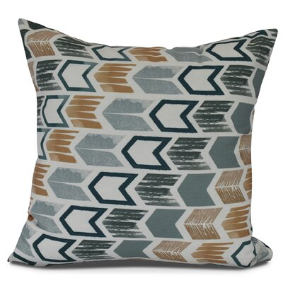 Waller Arrow Geometric Outdoor Throw Pillow Size: 16 H x 16 W, Color: Teal