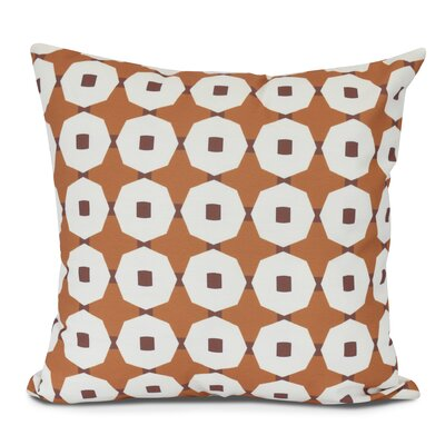 Waller Button Up Geometric Outdoor Throw Pillow Size: 18 H x 18 W, Color: Orange