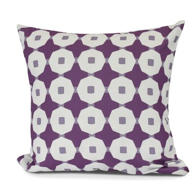 Waller Button Up Geometric Outdoor Throw Pillow Size: 16 H x 16 W, Color: Purple
