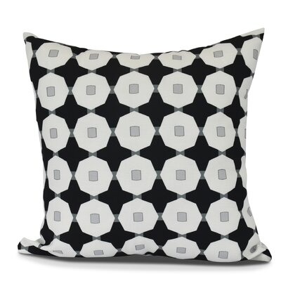Waller Button Up Geometric Outdoor Throw Pillow Size: 16 H x 16 W, Color: Black