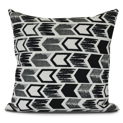 Borel Arrow Geometric Outdoor Throw Pillow Color: Black, Size: 20 H x 20 W