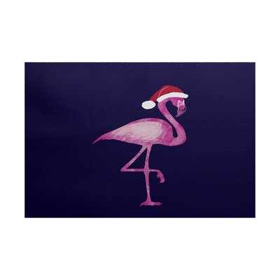 Snow Bird Navy Blue/Pink Indoor/Outdoor Area Rug Rug Size: 3 x 5