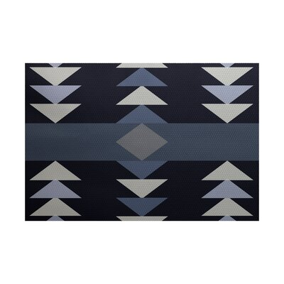Uribe Geometric Print Navy Blue Indoor/Outdoor Area Rug Rug Size: 2 x 3