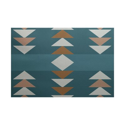 Mathis Geometric Print Aqua Indoor/Outdoor Area Rug Rug Size: 4 x 6