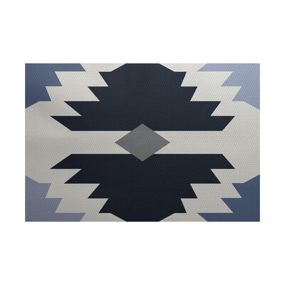 Foley Geometric Print Navy Blue Indoor/Outdoor Area Rug Rug Size: 2 x 3