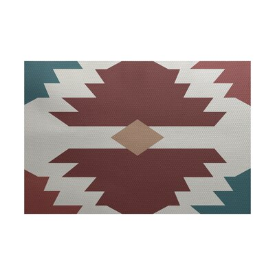 Houten Geometric Print Orange Indoor/Outdoor Area Rug Rug Size: Rectangle 2' x 3'
